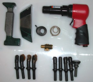15 Piece Riveting Kit With Sioux 3x Rivet Gun Brown