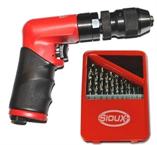 NEW! SIOUX .4 Horse Power Signature Series Mini Palm Drill with KEYLESS CHUCK - 4300 RPM (FREE 21 Pc Drill Bit Kit)