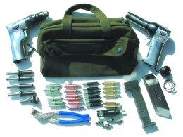 Sheet Metal Technicians Tool Bag Kit With 3x Rivet Gun